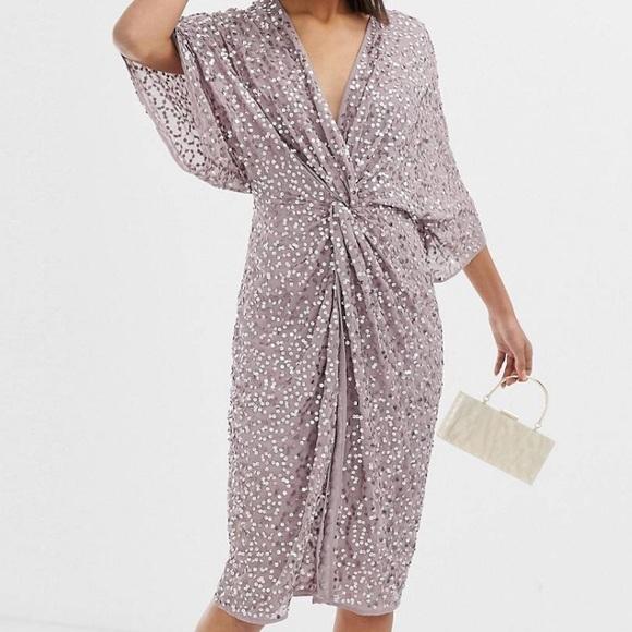 Asos Dresses Design Scatter Sequin Knot Front Kimono Dress Poshmark